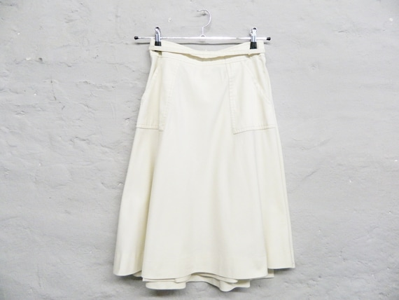 Vintage skirt beige/wrap skirt/70s skirt/midi skirt/knee length skirt