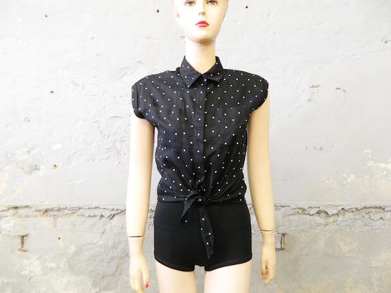 Vintage blouse black white/dotted blouse/knot blouse/Dizzy Lizzy top
