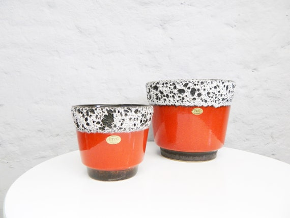 2x Flower Pot/Plant Pot Set/Ceramic Pot/Pot Red Ceramic/60s Plan Head