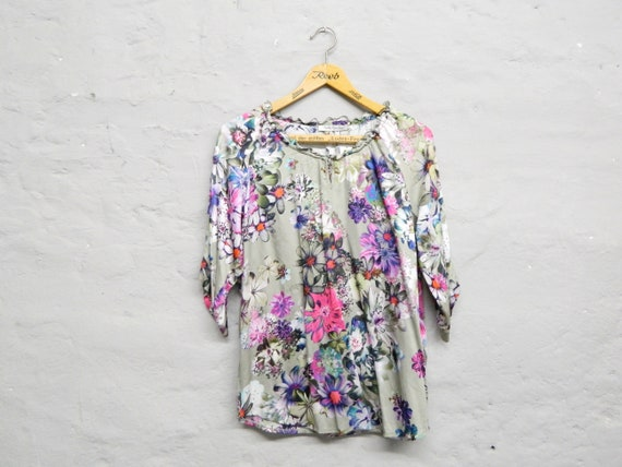 Tunic Betty Barclay/vintage blouse/80s blouse/floral blouse/tunic flowers