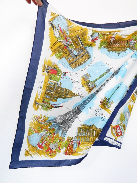 XL scarf/70s cloth J. Mico Sancho/vinatge neckerchief/France cloth/cloth printed Eiffel Tower