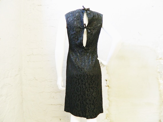 50s dress / evening dress / lace dress black / bla