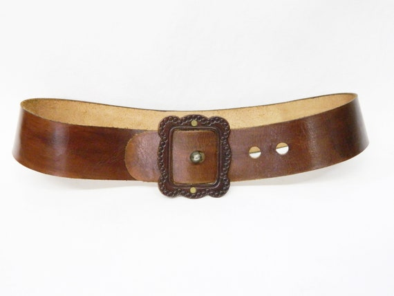 1970s belt brown leather wide / festival belt / vi