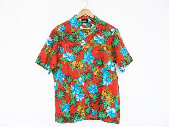 Hawaii shirt 80s/vintage men's shirt, vintage shirt men colorful/Haiwaiihemd/80s shirt colorful/shirt palm trees