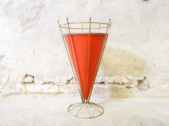 50s umbrella stand/vintage umbrella stand/stand/red container umbrellas/rockabilly
