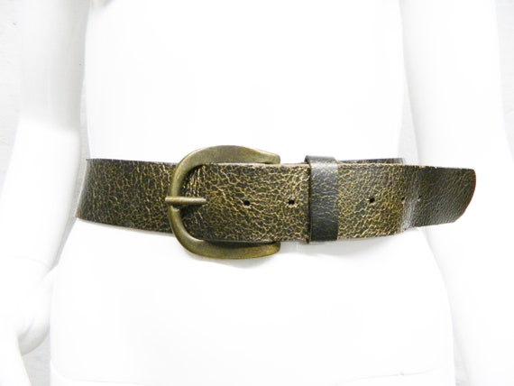 80s leather belt/belt brown metallic/vintage belt leather/belt leather brown, wide belt