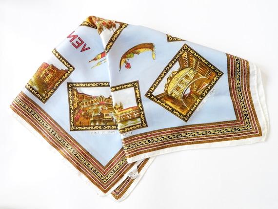 60s scarf/60s neckerchief/vintage cloth Venezia Italy/vintage scarf printed/1960s scarf