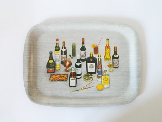 Vintage Tray/60s bar/beard utensils/Vintage tray/1960 's Tray Bar/mid century