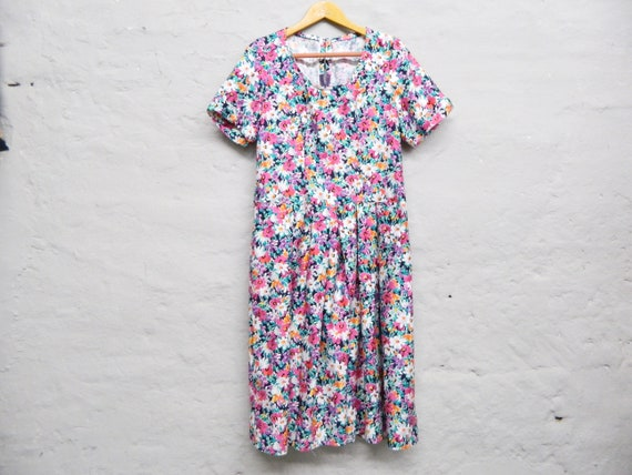 80s floral dress/dress floral/vinatge dress/80s dress midi