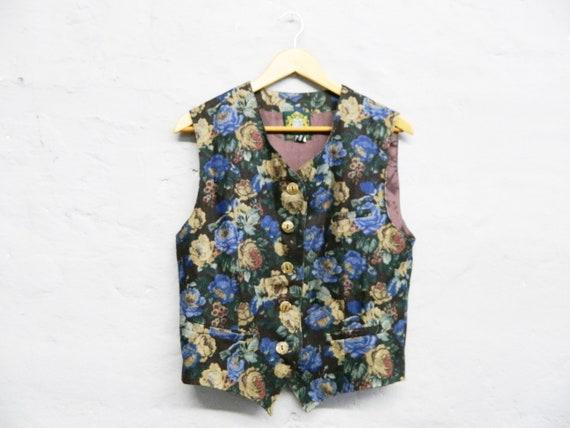 80s vest/vintage vest ladies/vest flowers/linen vest/top vintage/floral top