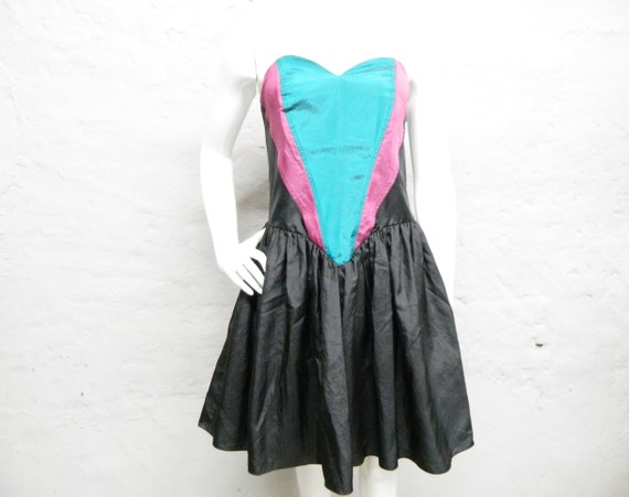 80s dress corsage/party dress/dress tulle/vintage evening dress/mini dress