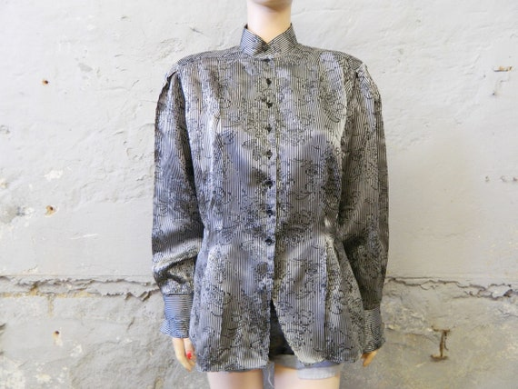 80s blouse/blouse black silver/floral pattern/blouse long sleeved/blouse festive