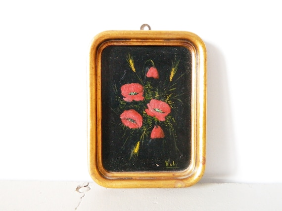 """oil painting/painting with wooden frame/vintage picture/Olive image/Picture """"Vichy""""/Floral picture framed"""
