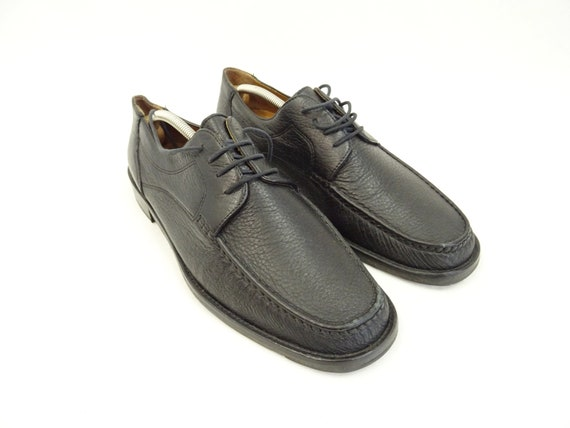 70s men's shoes black leather pitti / leather sole