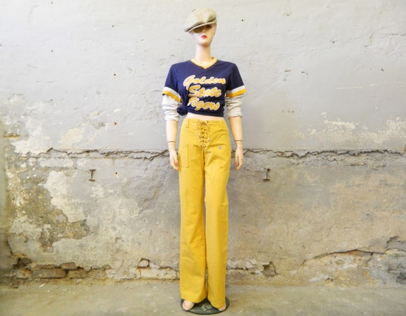 70s pants/batting pants/vintage pants yellow/high waist