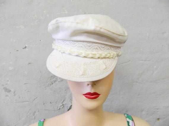 Vintage cap/70s cap/vintage hat/cap white/headgear/beach cap