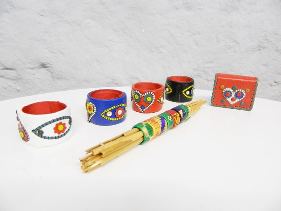 70s Napkin Rings Leather/Napkins Table Decoration/Decoration Dining table/table set/70s Kitchen