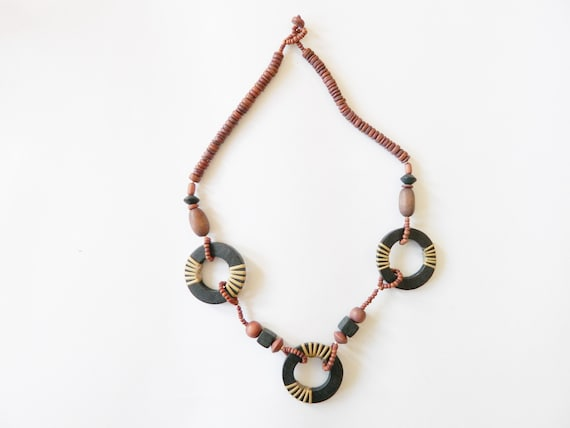 80s necklace wood/wood bead necklace/vintage necklace wood bohemian