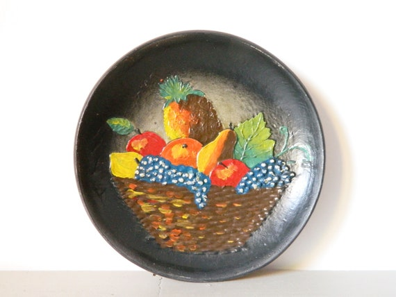 Big plate clay/vintage plate/fruit platter/large wall plate/kitchen decoration/60s wall plate