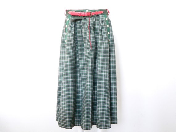 Costume Rock/vintage skirt/skirt with belts/costumes Rock Germany/dirndl skirt/vintage skirt plaid/70s skirt