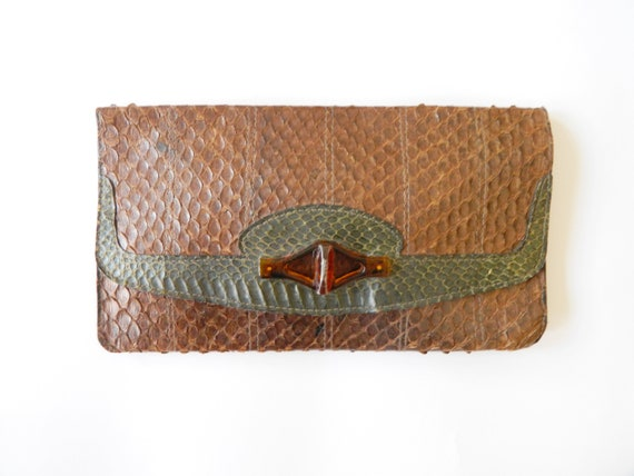 1970s clutch leather / vintage leather clutch brown / leather bag / vintage handbag / vintage clutch leather
