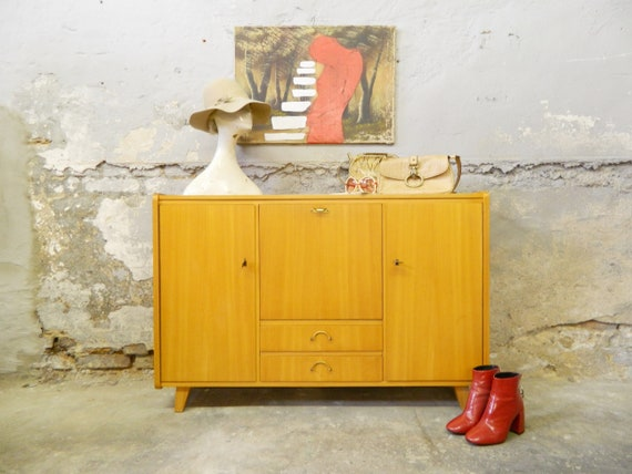 50s sideboard / vintage closet / light wood cabinet / 1950s furniture