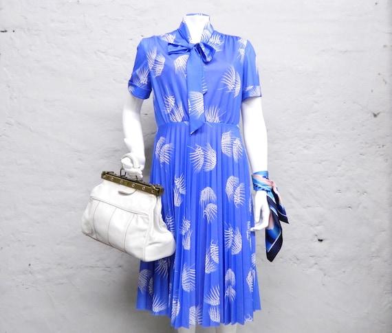 70s dress/dress shawl collar/scarf dress/dress blue/vintage summer dress