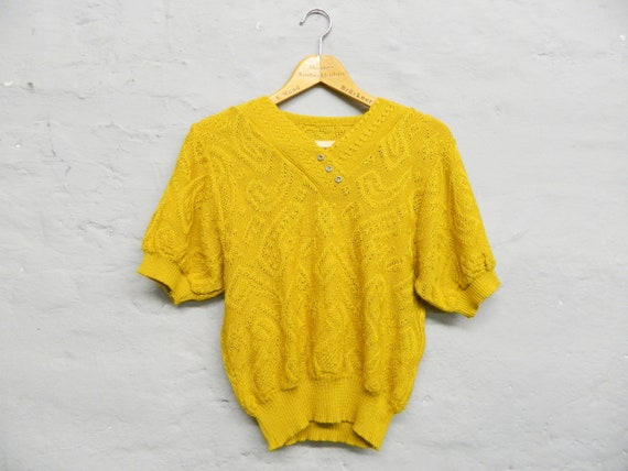 Vintage sweater/short sleeve sweater/sweater yellow/70s sweater/1970s sweater/knitted sweater