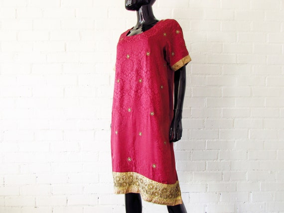 1970s dress Indian embroidered / brocade dress / … - image 2