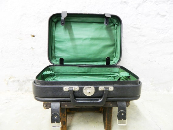 70s suitcase faux leather/vintage travel suitcase/men's suitcase/suitcase black/1970s suitcase
