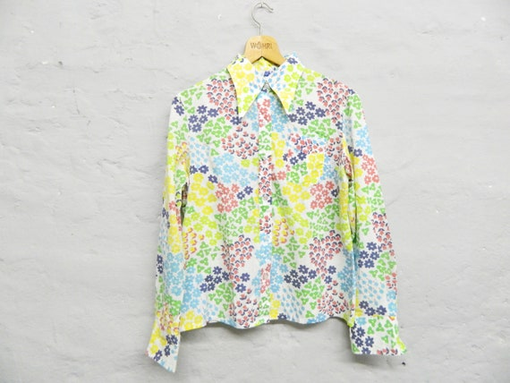 Blouse colorful floral/blouse pointed collar/197kah blouse/Flower Blouse Festiaval/Flower Top