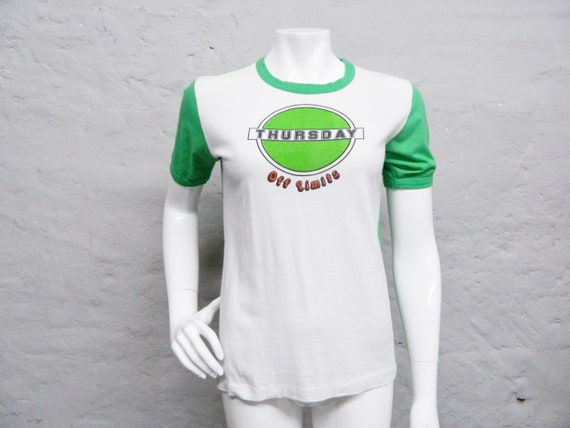 70s shirt green white/shirt thursday off limits/Top cotton/1970s shirt/t-shirt saying