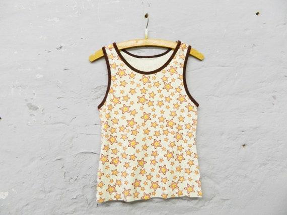 70s Top/Vintage Top Cotton/Stars Shirt/Vintage Shirt Stars
