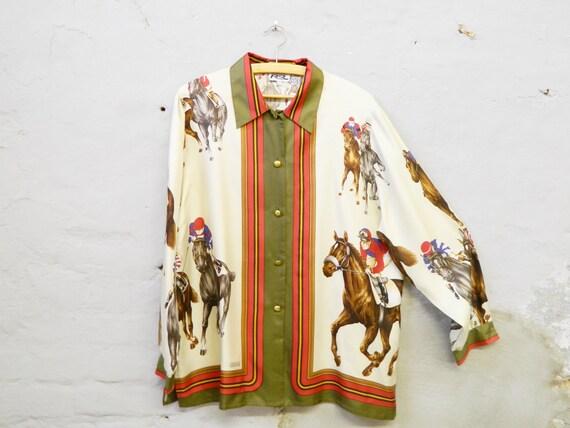 Vintage blouse rider silk/80s silk blouse horse/top silk oversize