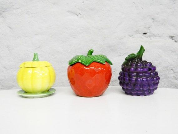 60s Jam Vessel 3 Pcs/jam pot/Vintage Ceramic/60s ceramic Tin/fruit Ceramic