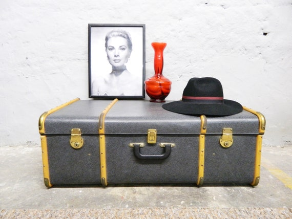 Overseas case volcanic fiber/vintage suitcase/XXL suitcase/30s suitcase/travel suitcase/suitcase ship