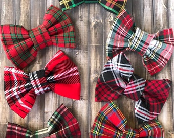 christmas plaid fabric print hair bows lot of plaid hair bows christmas plaid print bow ties matching sister hair bows plaid pigtail set - Christmas Plaid