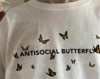 bb82fd03e26e83 Antisocial butterfly T-shirt