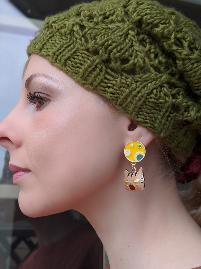 Cat Enamel Casual Girl/'s Funny Stud Dangle Colorful Moon Angry Face Earrings Kitten Spring