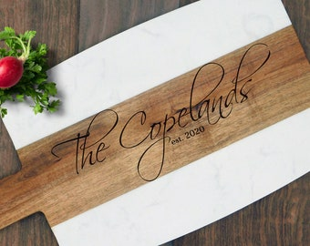 Custom Wedding Gift for Couple, Personalized Acacia Wood Marble Serving Board. Custom Cheese Board - Housewarming Gift, Charcuterie Board