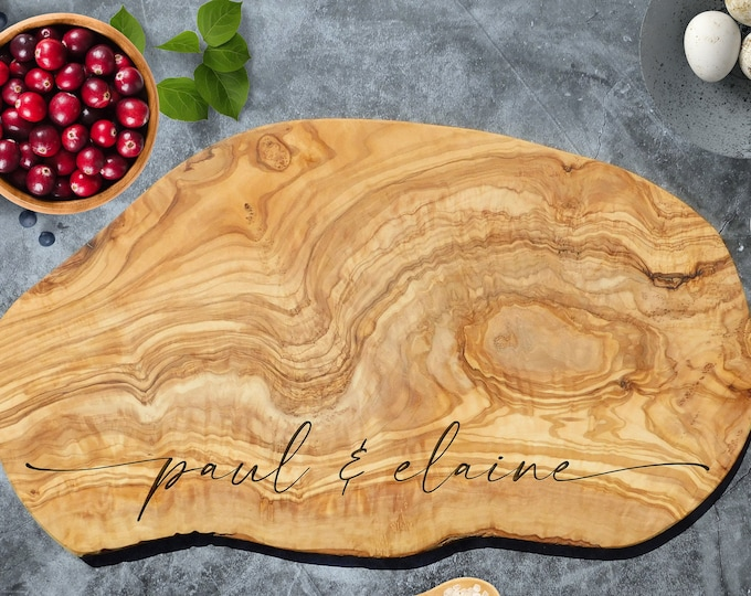Custom Cheese Board, Personalized Rustic Olive Wood Cheese Board. Custom Olive Wood Cutting Board. Engraved Charcuterie Board. 1st Home Gift
