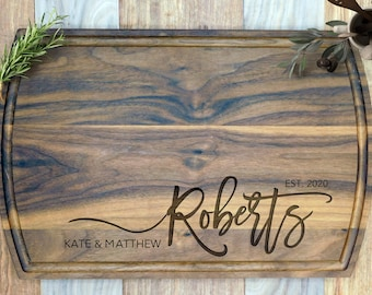 Personalized Family Name Cutting Board. Custom Engraved chopping Board Custom board, Wedding Gift, Anniversary, Housewarming Gift for couple