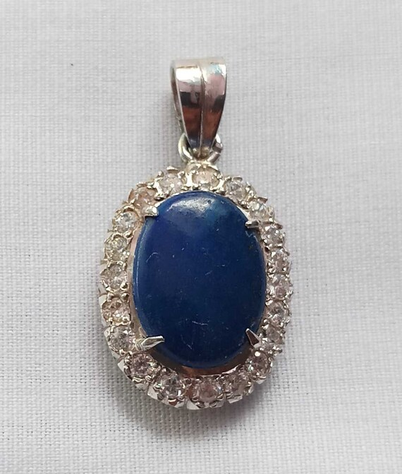 Blue Lapis Lazuli Gemstone Necklace Pendant 925 Sterling Solid Silver Jewelry