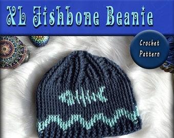 903652491e676 CROCHET PATTERN - xl Fishbone Beanie