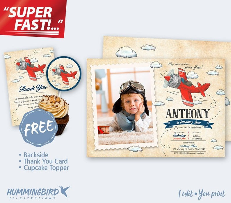 Buy 1 Get 3 FREE Airplane Picture INVITATION Vintage