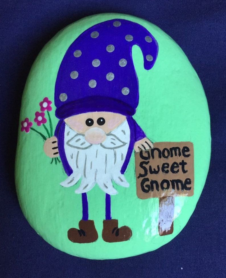 Gift Paperweight Garden Gnome Sweet Gnome Home Decor Garden Gnome Painted Stone Purple Porch Gnome Painted Rock Patio