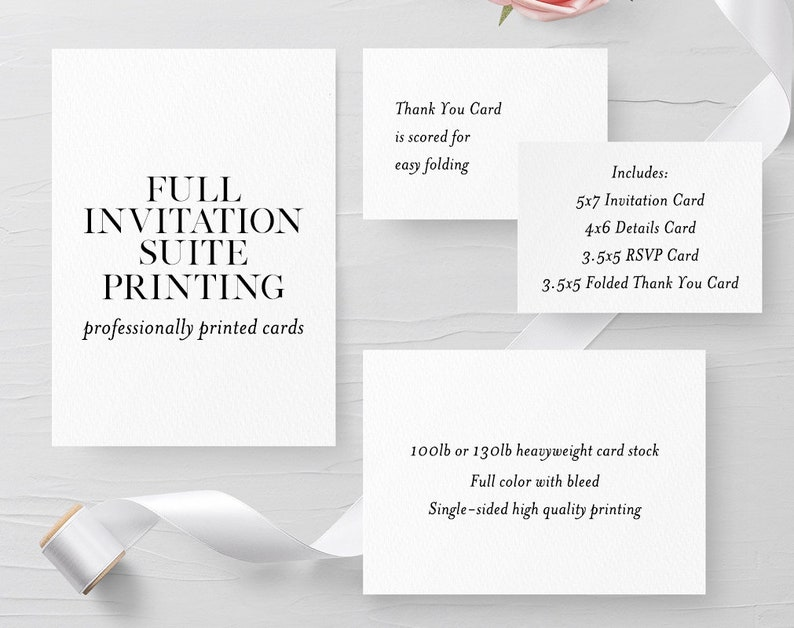 4 Piece Wedding Suite 5x7 4x6 3 5x5 And 3 5x5 Folded Etsy