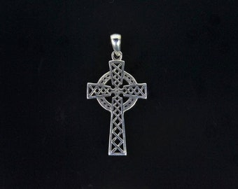Antique Etched Cross Pendant in 925 Sterling Silver 41x23mm
