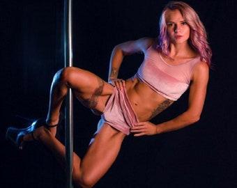 1feb4548f638 Pole Dancing Sportswear Fitness Suit Set Soft Pink Color Velvet Set With  Mesh Brazilian Panties Sexy Set Clothes For Pole Dancing Top Pushap