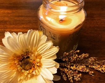 Mason Jar Organic Beeswax Candle 14 oz Upcycled Jar